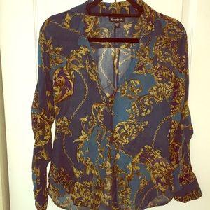 Blue royal gold print button slim fit sheer shirt